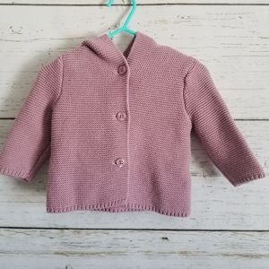 GAP Knit Sweater with Buttons and Hood 3-6m
